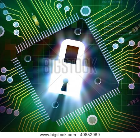 Chip de procesador de ordenador bloqueado