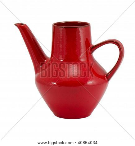 Ceramic Red Jug Pitcher Jar Teapot Handle Isolated