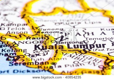 Cerca de Kuala Lumpur en el mapa, Malasia