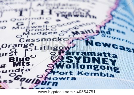 Close Up Of Sydney On Map, Australia