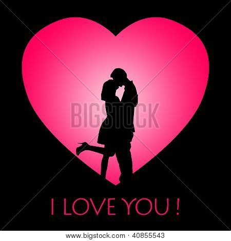 Card Design Of Kissing Couple