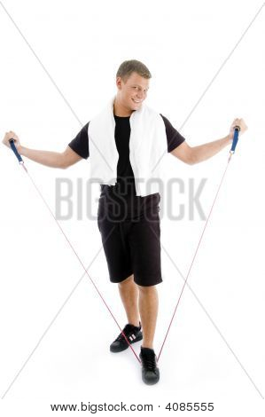 Healthy Man Stretching Exercise Rope
