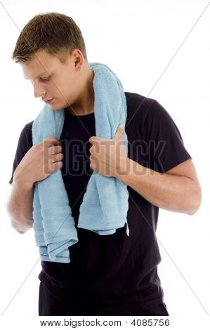 Handsome Male Holding Towel