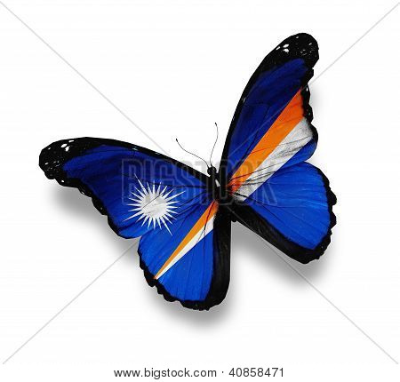 Flag Of Marshall Islands Butterfly, Isolated On White