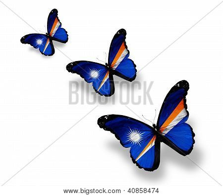 Three Marshall Islands Flag Butterflies, Isolated On White