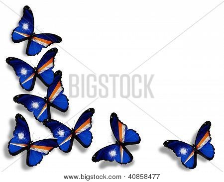 Marshall Islands Flag Butterflies, Isolated On White Background