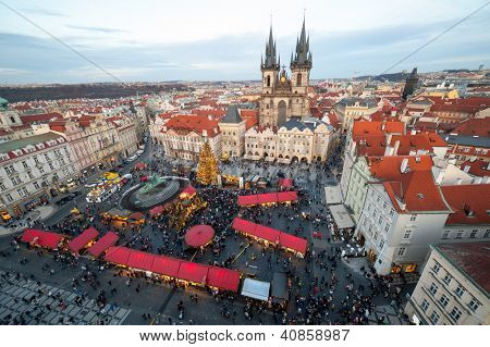 PRAGUE - DECEMBER 31: Unidentified people gather in the old town square to celebrate the New Year 2013 on December 31, 2012 in Prague. Every year many tourists celebrate New Year in Prague's old town