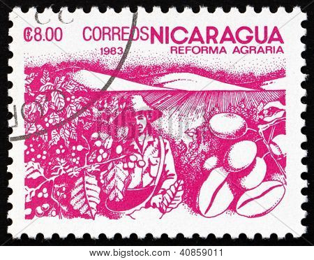 Postage stamp Nicaragua 1983 Coffee Beans, Agrarian Reform