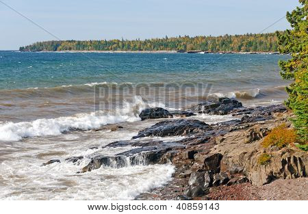Crashing Waves On A Rocky Shore