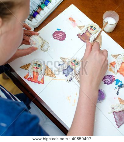 Making Of Souvenirs. Handmade Decorative Angels