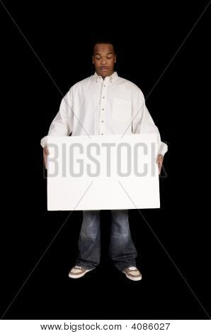Young African American Man With Sign