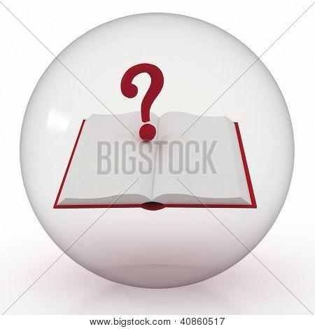 3d render illustration of transparent ball with open book and a question mark inwardly