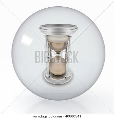 Old Sandglass in a transparent  glass ball on white background