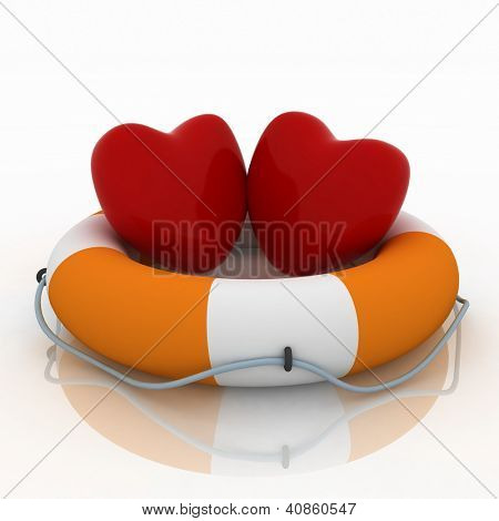 two hearts and life buoy on white background