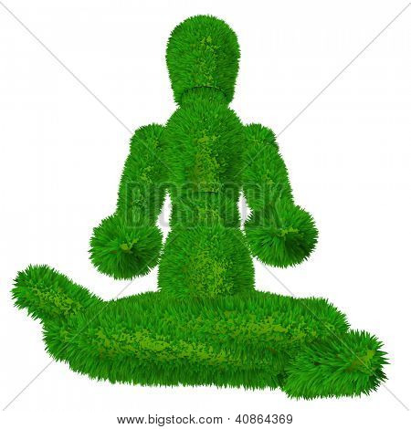 High resolution conceptual 3D human or man in meditation or yoga position covered in green fresh grass or leaves isolated on white background