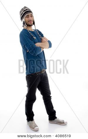 Posing Male Wearing Woolen Cap