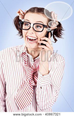 Student On A Mobile Call With Speech Bubbles