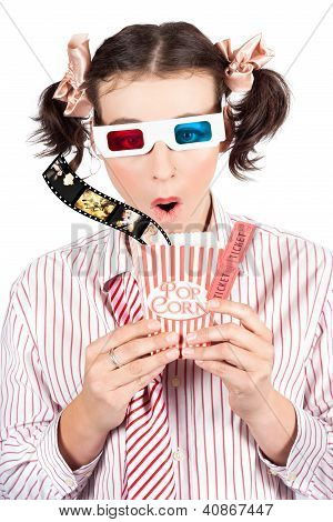 Girl In Pigtails Watching A 3D Comedy Movie