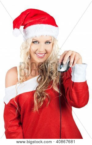 Cute Lady Santa Claus With Computer Mouse