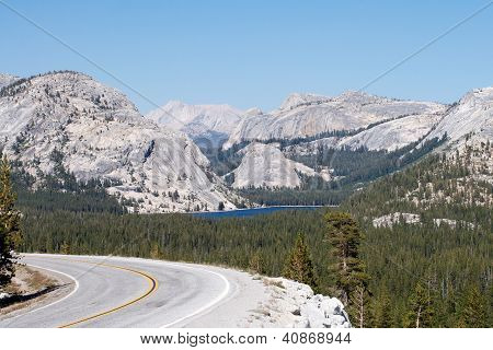 Tenaya Lake and highway 120 in Yosemite