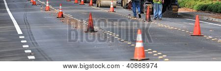 street construction with cones