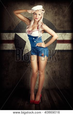 American Fashion Model In Military Pin-up Style