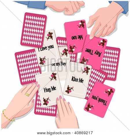 Couple With Playing Cards Of  Love Message