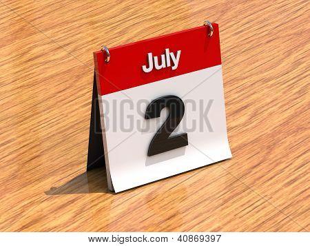 Calendar On Desk - July 2Nd