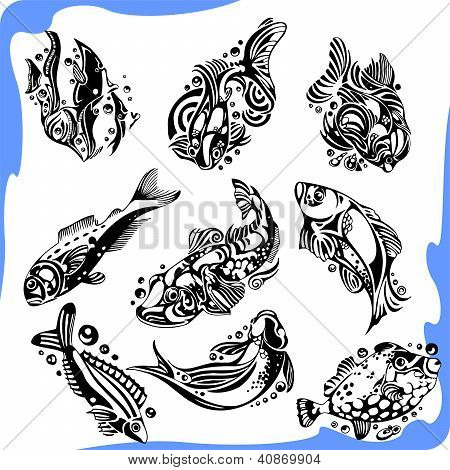 Abstract Fish - vector set.