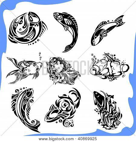 Abstract Fish - vector set.