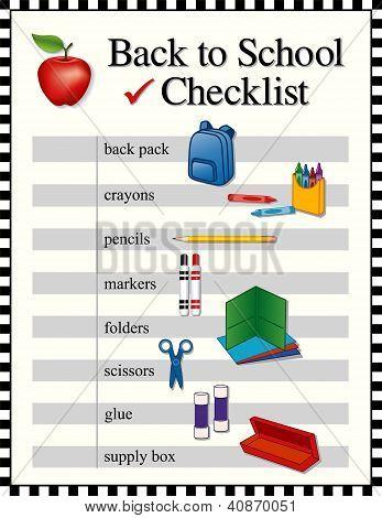 Checklist, Back To School