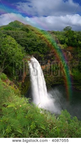 Stock photo : Waterfall In Kauai Hawaii With Rainbow
