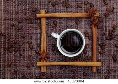 Cup of Coffee in Cinnamon Sticks Frame