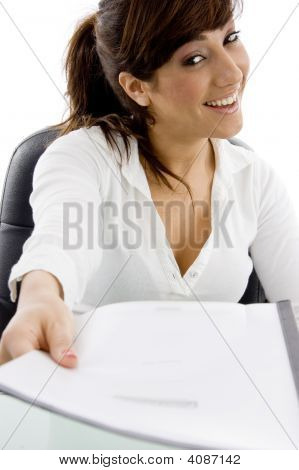 Front View Of Smiling Female Lawyer Showing Her Document