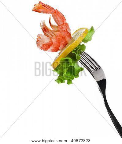 shrimp on fork isolated on white