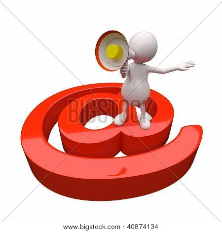 3D People With Red Email Icon
