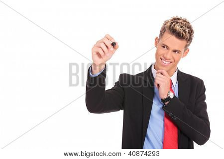 pensive business man is writing something with his marker on white background