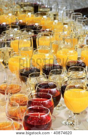 Glasses Of Juice And Wine At The Banquet