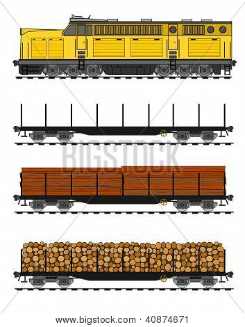 American Style Freight Train Loaded With Wood Trunks.