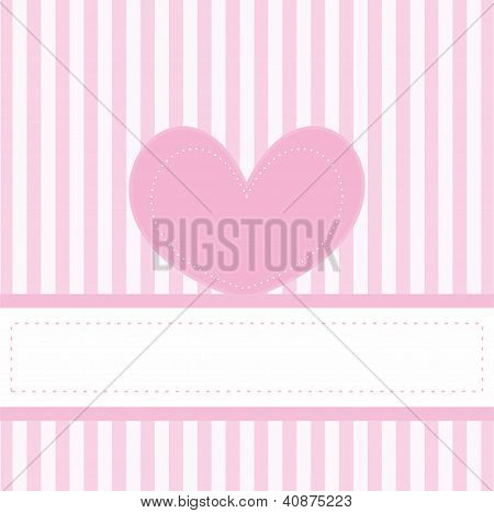 Pink vector valentine love card or invitation for baby shower, wedding or birthday party with heart