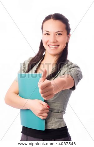 Happy Student With Her Thumb Up