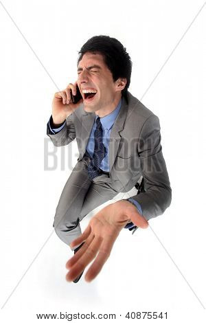 Hysterical businessman on the phone