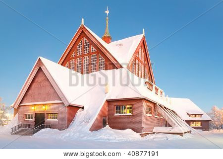 Kiruna cathedral church Architecture Sweden at dusk twilight