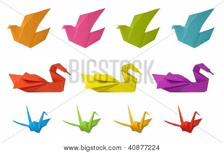 Origami Birds Isolated On White