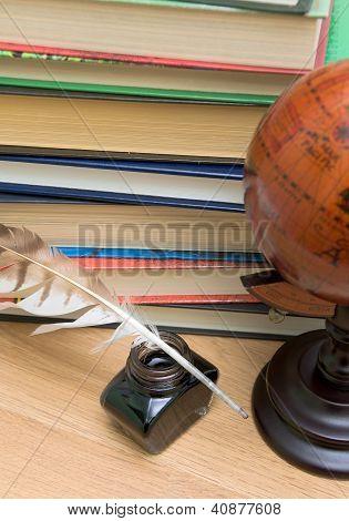 School Supplies On A Wooden Board
