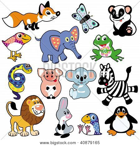 Set With Simple Childish Animals