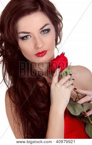 Portrait Of Beautiful Woman With Beauty Long Brown Hair Holding Red Rose