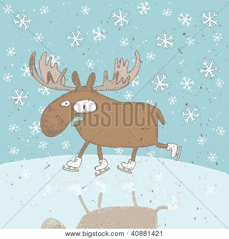 Funny Moose Ice-skating