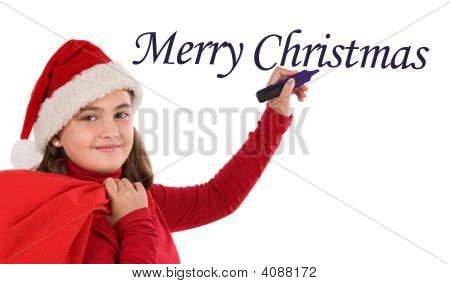 Beautiful Girl Writing Merry Christmas