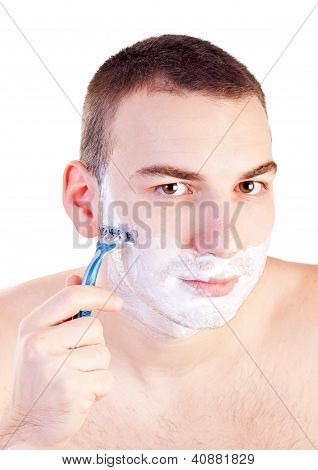 Portrait Of Handsome Shaving Man